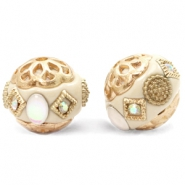 Bohemian beads 16mm Beige-Diamond Coated White Gold