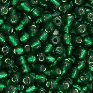 Glass seed beads 6/0 (4mm) Dark Classic Green Silver Lined