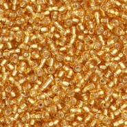 Glass seed beads 12/0 (2mm) Topaz Gold Silver Lined