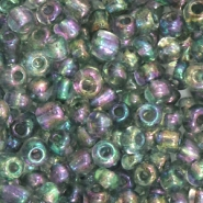 Glass seed beads 6/0 (4mm) Grey AB Transparent