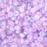 Glass seed beads 6/0 (4mm) Light Purple Orchid AB Transparent