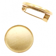 Findings metal brooch for cabochon 12 mm Gold