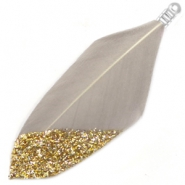 Feathers dip-dye glitter Taupe Grey