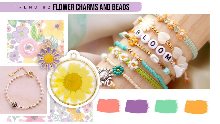 FLOWER CHARMS AND BEADS